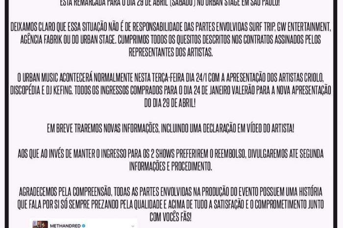 COMUNICADO OFICIAL - Adiamento do Show dos Rappers Method Man & RedMan para o dia 29/04/17 - (Clique e Compartilhe)