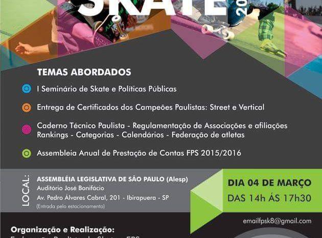 A Federação Paulista de Skate comunica a realização do II Congresso Técnico de Skate Paulista - (Clique e Compartilhe)