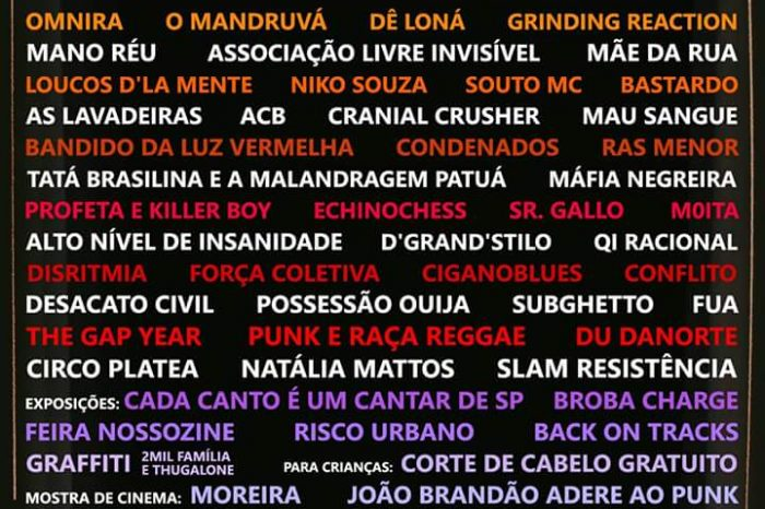 Confira a Programação do Festival Da Rua pra Rua 2017 em S.B do Campo/SP - (Clique e Compartilhe)