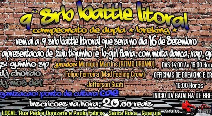 """9ª Edição do SRB Battle Litoral """"Campeonato de Dupla de Breaking"""" no Guarujá/SP - (Clique e Compartilhe)"""