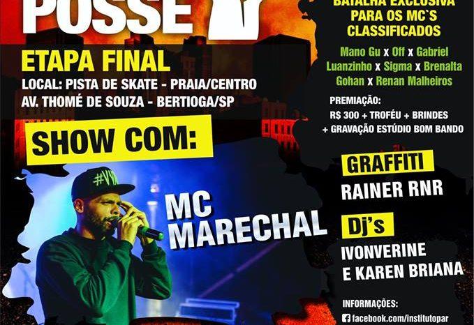 """MC Marechal na """"Etapa Final do Circuito Municipal de Batalha de Mc's"""" em Bertioga/SP – (Clique e Compartilhe)"""