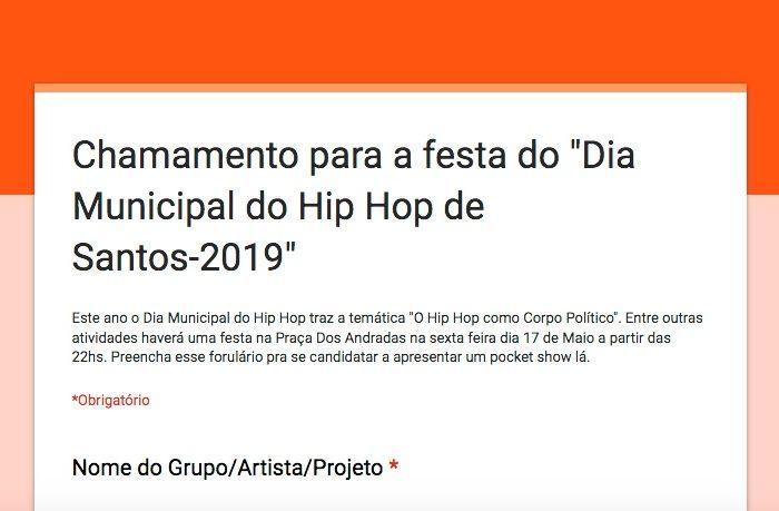 """Inscreva-se para a Festa do """"Dia Municipal do Hip Hop de Santos"""" 2019 - (Clique e Compartilhe)"""