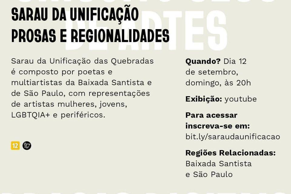 """Sarau da Unificação """"Circuito Sesc de Artes 2021"""" - Portal OH2C"""